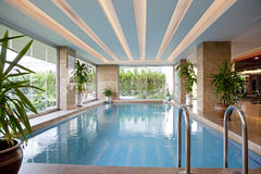 Indoor swimming pool detail view. Royalty Free Stock Image