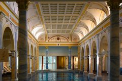Grand Resort Bad Ragaz, Helena Therme, historical indoor swimming pool, Switzerland. Grand Resort, Bad Ragaz, Switzerland stock photos