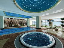 Indoor swimming pool and jacuzzi design idea. Indoor swimming pool, jacuzzi and wooden deck relax design idea 3d rendering Stock Photography