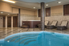 Indoor swimming pool,jacuzzi and sauna Royalty Free Stock Photos