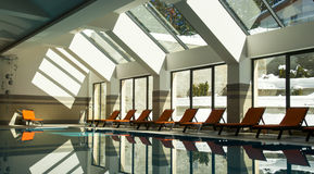 Indoor swimming pool in winter Stock Photo