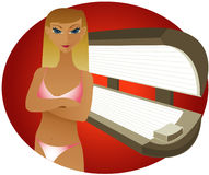 Indoor Tanning - Blonde. Blonde woman in her bikini, at a tanning salon Stock Illustration