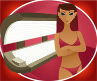 Indoor Tanning - Brunette. Woman stands in her bikini, in front of a tanning bed Vector Illustration