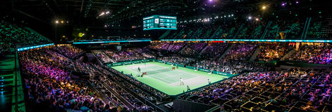 Indoor Tennis Tournament overview stadium Royalty Free Stock Image