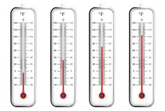 Indoor thermometers in Fahrenheit scale Stock Photo
