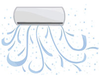 Indoor unit vector. Air conditioning is available, cold in the room. Royalty Free Stock Photos