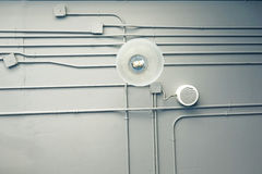 Indoor ventilation system on hight ceiling Stock Photos