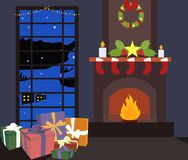Indoor view with burning fireplace and new year socks, ornament balls,wreath bow, gift boxes at night time. royalty free illustration