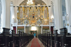 Indoor view of church with pipe organ. Kaliningrad Royalty Free Stock Image