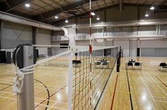 Indoor Volleyball Court. Net level view of an indoor volleyball court Royalty Free Stock Photography