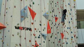 Indoor Wall Climbing Sports Stock Image