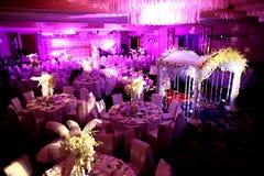 Indoor wedding Scene. Set for dining Stock Photos