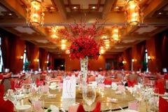 Indoor wedding scene. Wedding table set for dining,an indoor wedding party Stock Image