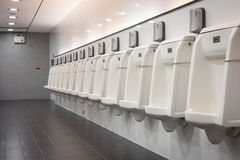 Indoor white urinals men public toilet Stock Photography
