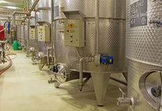 Indoor of wine manufacturer great Slovak producer. Modern big cask for the fermentation. Stock Photos