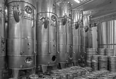 Indoor of wine manufactury of great Slovak producer. Modern big cask for the fermentation. Royalty Free Stock Photos