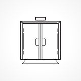 Indoors glass door black line icon Royalty Free Stock Photography