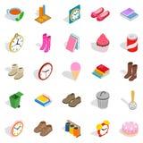 Indoors icons set, isometric style. Indoors icons set. Isometric set of 25 indoors vector icons for web  on white background Royalty Free Stock Photography