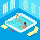 Indoors Jacuzzi with Woman and Man. Isometric People. Royalty Free Stock Photo