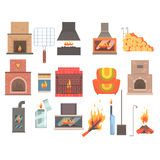 Indoors And Outdoors Fireplaces And Bonfires With Related Attributes And Tools Set Of Vector Cartoon Objects. Isolated Items For House Interior Decor And Home Royalty Free Stock Photos