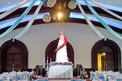 Indoors wedding. Reception venue with décor Stock Photography