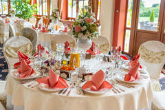 Indoors wedding reception with decor. Wedding hall Royalty Free Stock Photography