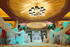 Indoors wedding reception. Venue with décor stock images