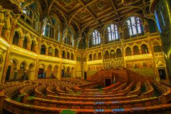 Indor of budapest parliment. Golden decoration of budapest parliment inside the building Stock Photos