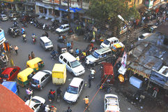 Indore City Centre ~ Twilight Chaos. So many drivers rat the junction all halt rchaos confusion stock photography
