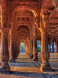 Indore Rajwada, the royal palace of Indore, India. Photo of the sun lit pillars of Royal Palace of Indore, India, called Rajwada. These palaces were built by the royalty free stock photography