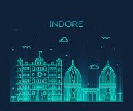 Indore skyline vector illustration linear style Stock Photo