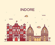 Indore skyline vector illustration linear style Royalty Free Stock Images