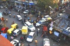 Indore stadsmitt ~ skymningkaos Arkivbild