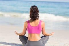 Indossi il punto di vista della donna di misura che fa l'yoga accanto al mare immagine stock libera da diritti