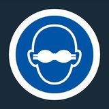 Indossi il segno opaco di protezione degli occhi su fondo nero, illustrazione di vettore illustrazione di stock