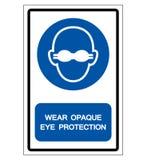 Indossi il segno opaco di simbolo di protezione degli occhi, illustrazione di vettore, isolata sull'etichetta bianca del fondo EP illustrazione vettoriale