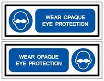 Indossi il segno opaco di simbolo di protezione degli occhi, illustrazione di vettore, isolata sull'etichetta bianca del fondo EP illustrazione di stock
