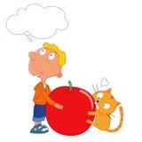 Indovini che cosa, ragazzo e un gatto sveglio, mela rossa Immagini Stock