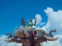 Indra на слоне Erawan в Wat Saman Rattanaram Путь клиппирования Стоковые Изображения RF