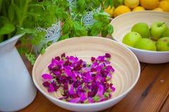 Indredients végétariens de nourriture avec le fruit et les herbes organiques Photographie stock libre de droits