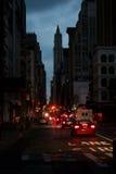 Indrukken van blacked-uit Lower Manhattan