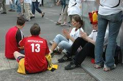 Indrukken van de Ventilatormijl Fanmeile bij de Voetbalwereldbeker 2006 in Berlijn op 30 Juni, 2006 vóór de kwartfinale betwe Royalty-vrije Stock Foto