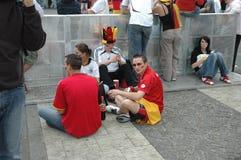 Indrukken van de Ventilatormijl Fanmeile bij de Voetbalwereldbeker 2006 in Berlijn op 30 Juni, 2006 vóór de kwartfinale betwe Royalty-vrije Stock Foto's