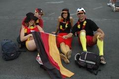 Indrukken van de Ventilatormijl Fanmeile bij de Voetbalwereldbeker 2006 in Berlijn op 30 Juni, 2006 vóór de kwartfinale betwe Stock Fotografie