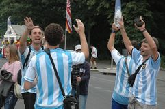 Indrukken van de Ventilatormijl Fanmeile bij de Voetbalwereldbeker 2006 in Berlijn op 30 Juni, 2006 vóór de kwartfinale betwe Royalty-vrije Stock Afbeeldingen
