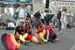Indrukken van de Ventilatormijl Fanmeile bij de Voetbalwereldbeker 2006 in Berlijn op 30 Juni, 2006 vóór de kwartfinale betwe Stock Foto