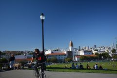 Indrukken van Dolores Park in San Francisco, Californië de V.S. royalty-vrije stock foto's