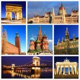 Indrukken van Europese Oriëntatiepunten Stock Foto