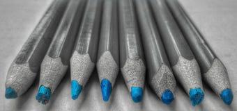 Indrukwekkende blauwe potloden Royalty-vrije Stock Afbeeldingen