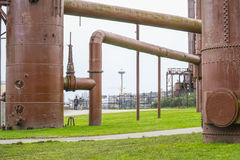 Indrukwekkende bouw bij de Gasfabriekenpark van Seattle - SEATTLE/WASHINGTON - APRIL 11, 2017 Royalty-vrije Stock Foto's